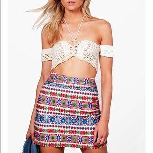 Boohoo Jessica Embroidered Mini Skirt